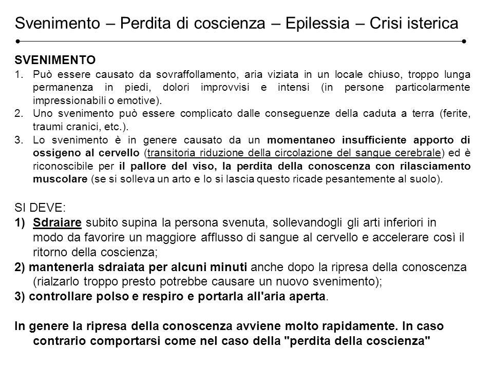 Svenimento – Perdita di coscienza – Epilessia – Crisi isterica