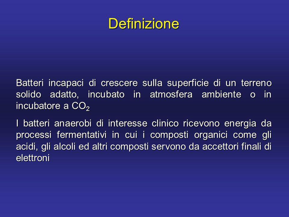 Definizione Batteri incapaci di crescere sulla superficie di un terreno solido adatto, incubato in atmosfera ambiente o in incubatore a CO2.