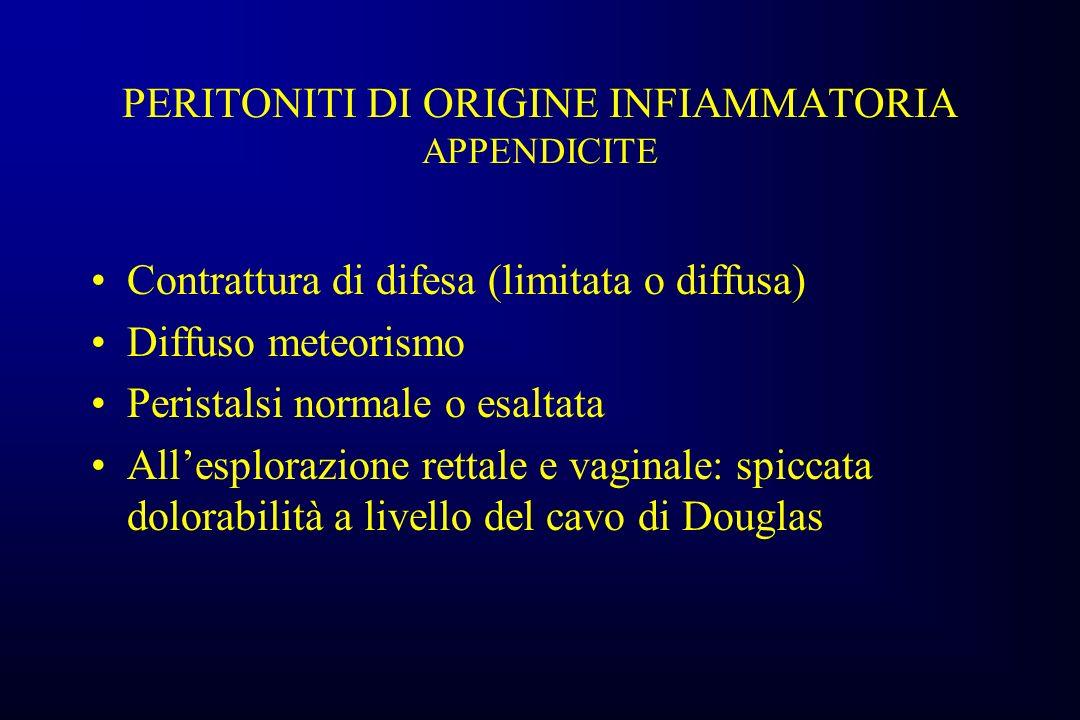 PERITONITI DI ORIGINE INFIAMMATORIA APPENDICITE