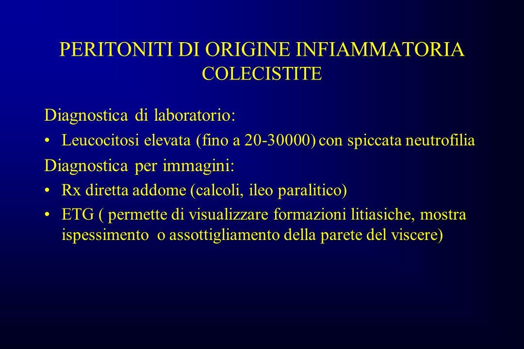 PERITONITI DI ORIGINE INFIAMMATORIA COLECISTITE