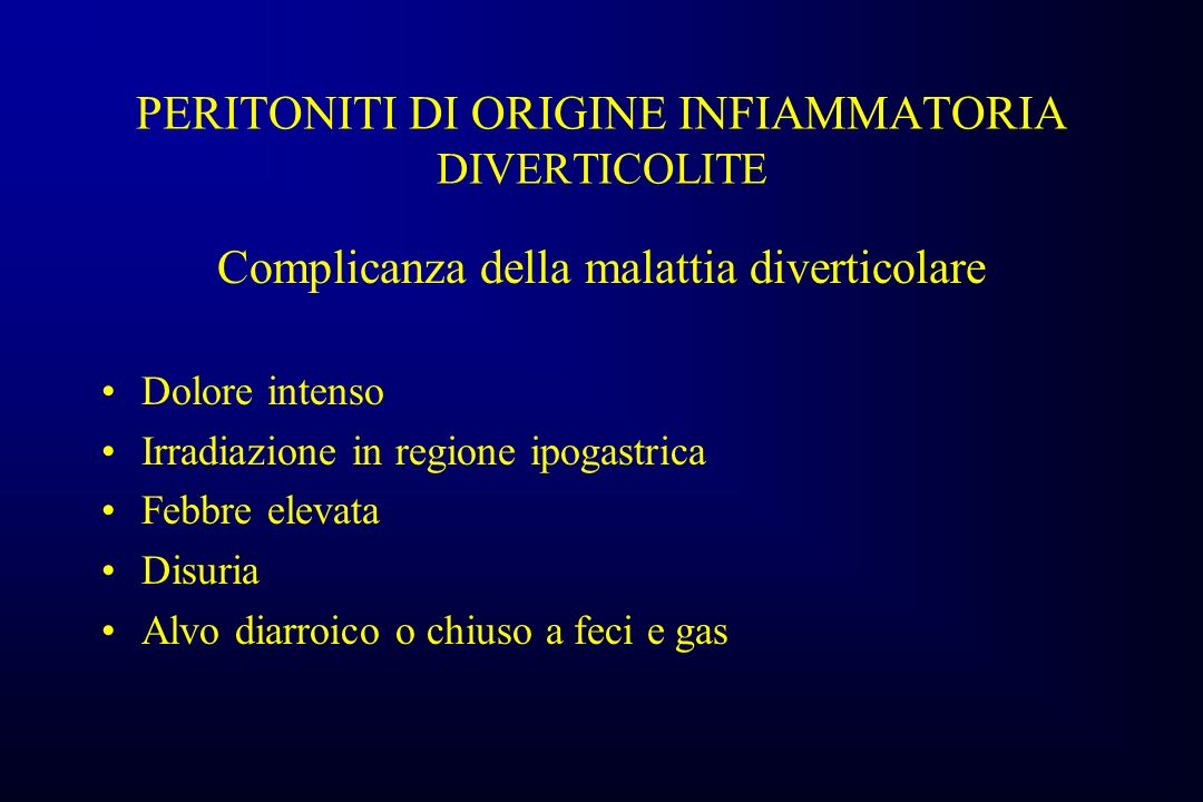 PERITONITI DI ORIGINE INFIAMMATORIA DIVERTICOLITE