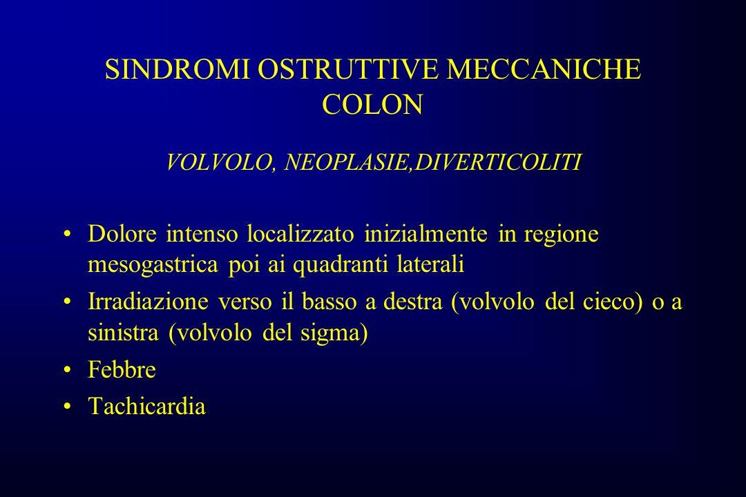 SINDROMI OSTRUTTIVE MECCANICHE COLON