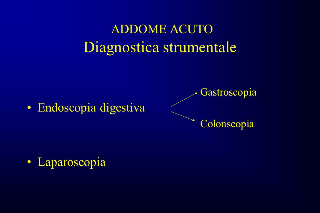 ADDOME ACUTO Diagnostica strumentale