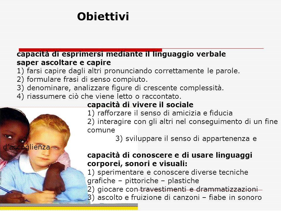 Obiettivi capacità di esprimersi mediante il linguaggio verbale