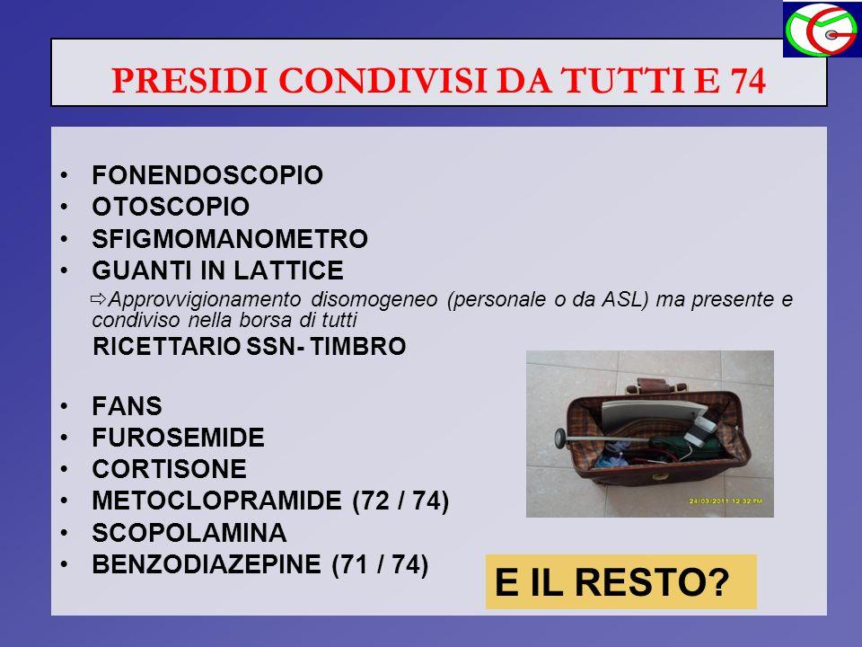 PRESIDI CONDIVISI DA TUTTI E 74