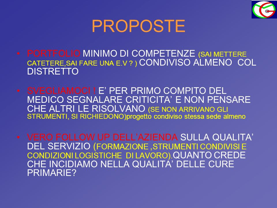PROPOSTE PORTFOLIO MINIMO DI COMPETENZE (SAI METTERE CATETERE,SAI FARE UNA E.V ) CONDIVISO ALMENO COL DISTRETTO.