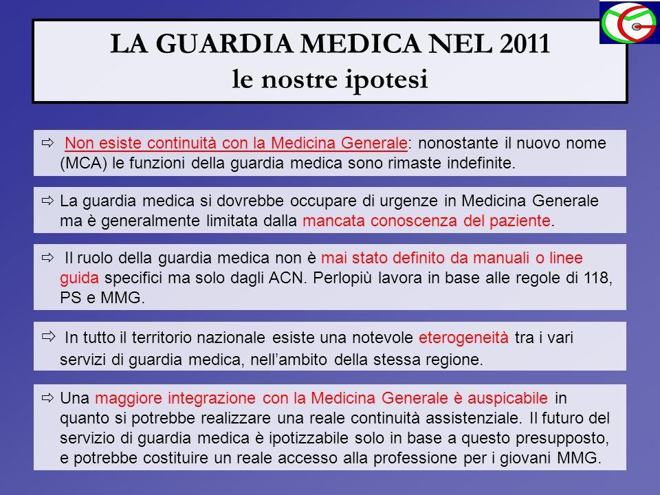 LA GUARDIA MEDICA NEL 2011 le nostre ipotesi
