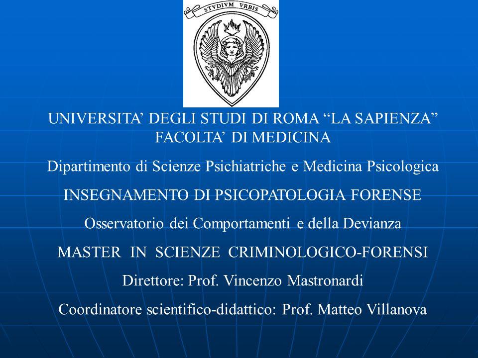 UNIVERSITA' DEGLI STUDI DI ROMA LA SAPIENZA FACOLTA' DI MEDICINA