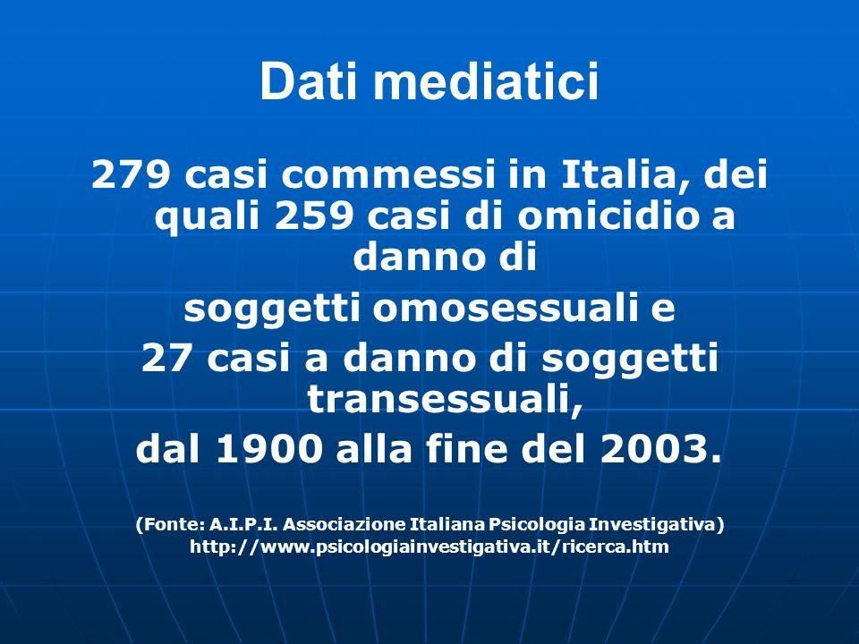 Dati mediatici 279 casi commessi in Italia, dei quali 259 casi di omicidio a danno di. soggetti omosessuali e.