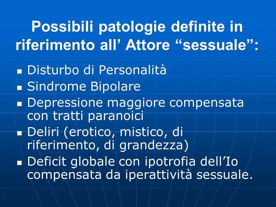 Possibili patologie definite in riferimento all' Attore sessuale :