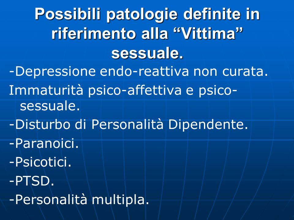 Possibili patologie definite in riferimento alla Vittima sessuale.