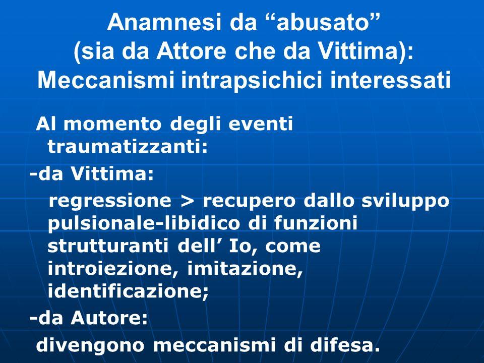 Anamnesi da abusato (sia da Attore che da Vittima): Meccanismi intrapsichici interessati