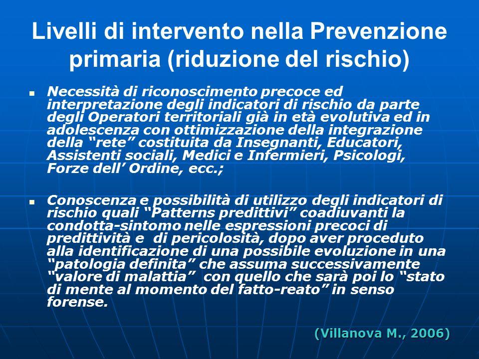 Livelli di intervento nella Prevenzione primaria (riduzione del rischio)