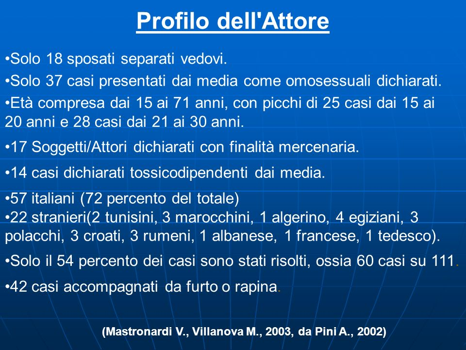 (Mastronardi V., Villanova M., 2003, da Pini A., 2002)