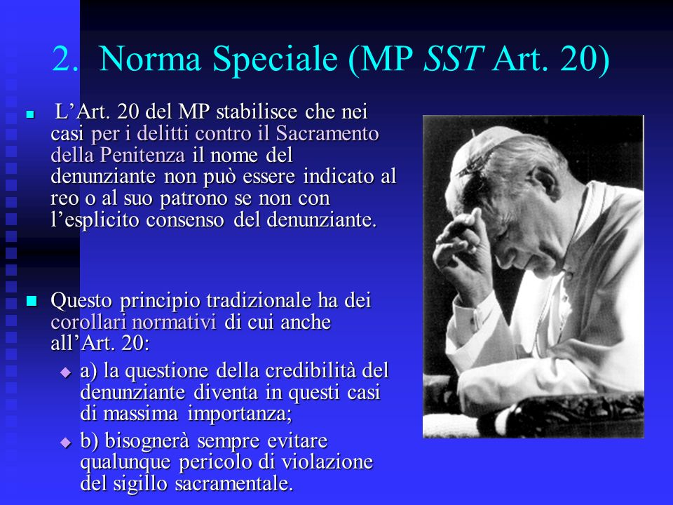 2. Norma Speciale (MP SST Art. 20)