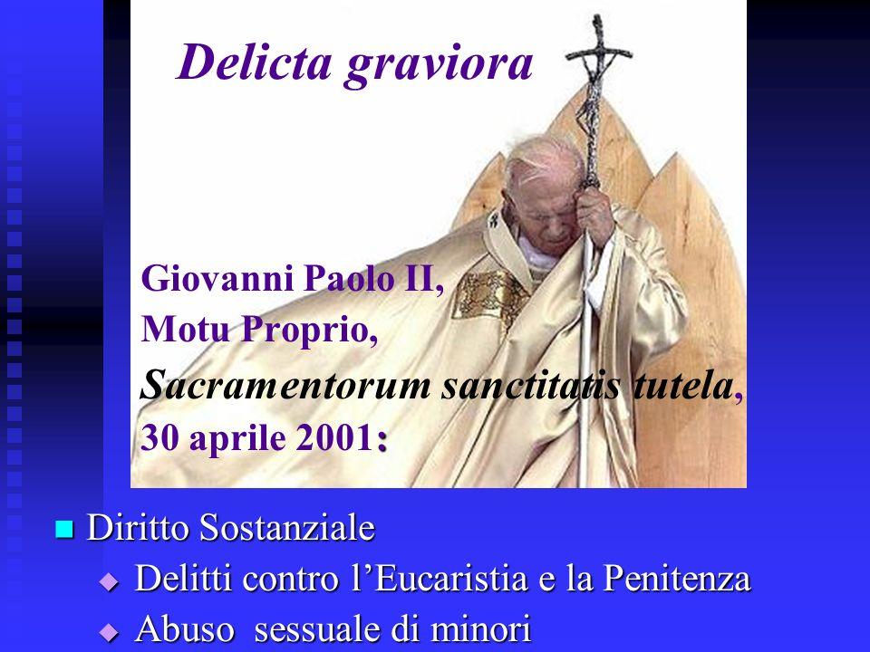 Delicta graviora Giovanni Paolo II, Motu Proprio,