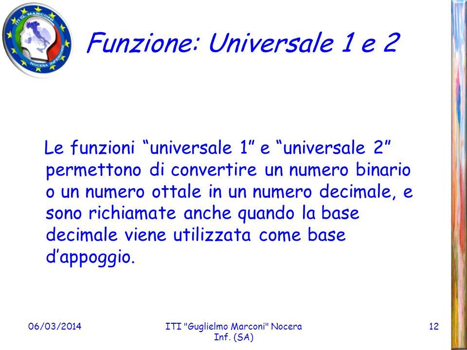 Funzione: Universale 1 e 2