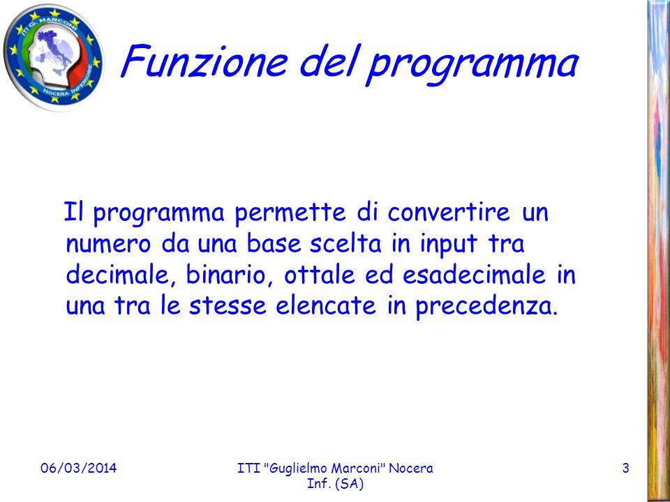 Funzione del programma