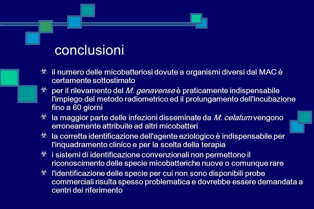 conclusioni il numero delle micobatteriosi dovute a organismi diversi dal MAC è certamente sottostimato.