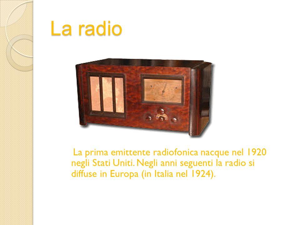 La radio La prima emittente radiofonica nacque nel 1920 negli Stati Uniti.