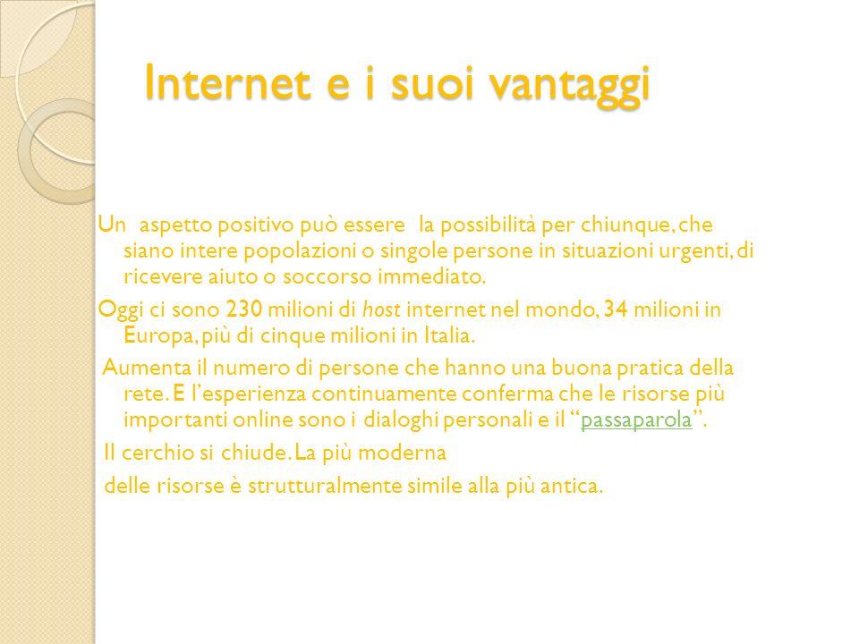Internet e i suoi vantaggi