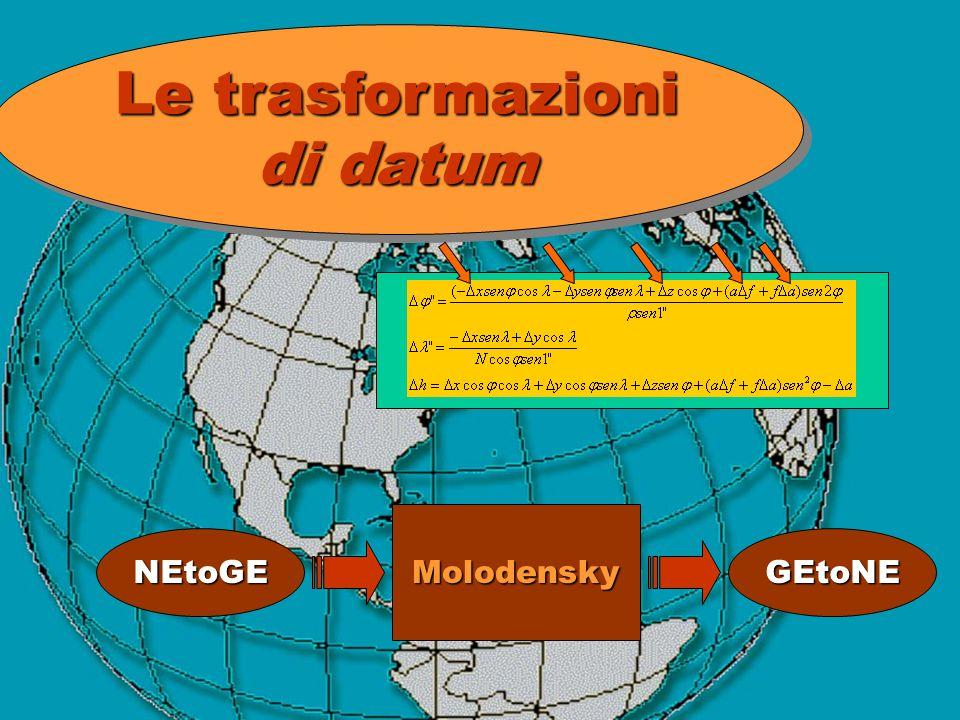 Le trasformazioni di datum Molodensky NEtoGE GEtoNE