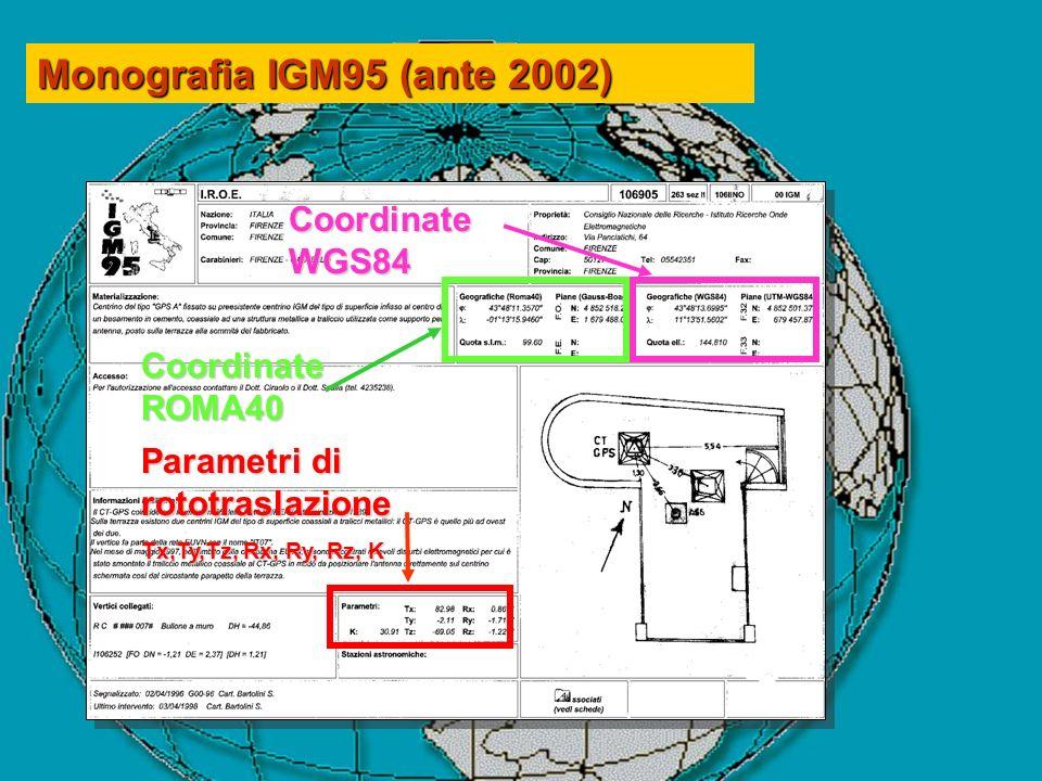 Monografia IGM95 (ante 2002) Coordinate WGS84 Coordinate ROMA40