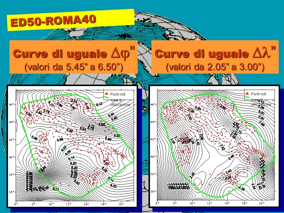 ED50-ROMA40 Curve di uguale Dj Curve di uguale Dl