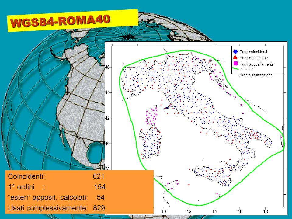 WGS84-ROMA40 Coincidenti: 621 1° ordini : 154