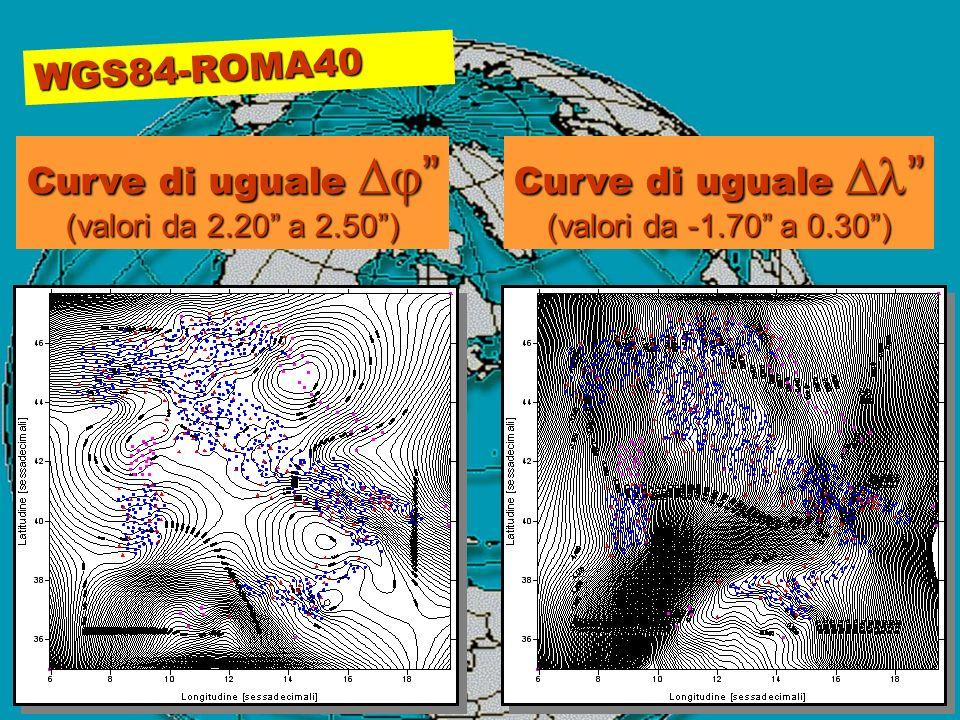 WGS84-ROMA40 Curve di uguale Dj Curve di uguale Dl