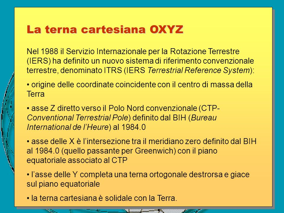 La terna cartesiana OXYZ