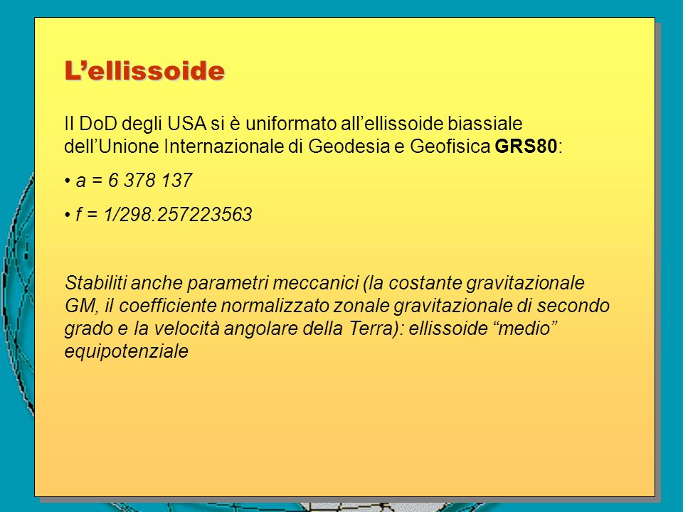 L'ellissoide Il DoD degli USA si è uniformato all'ellissoide biassiale dell'Unione Internazionale di Geodesia e Geofisica GRS80: