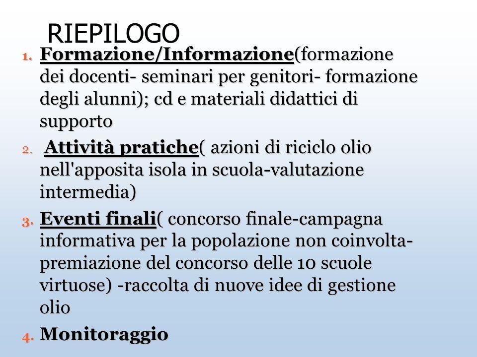 RIEPILOGO Formazione/Informazione(formazione dei docenti- seminari per genitori- formazione degli alunni); cd e materiali didattici di supporto.