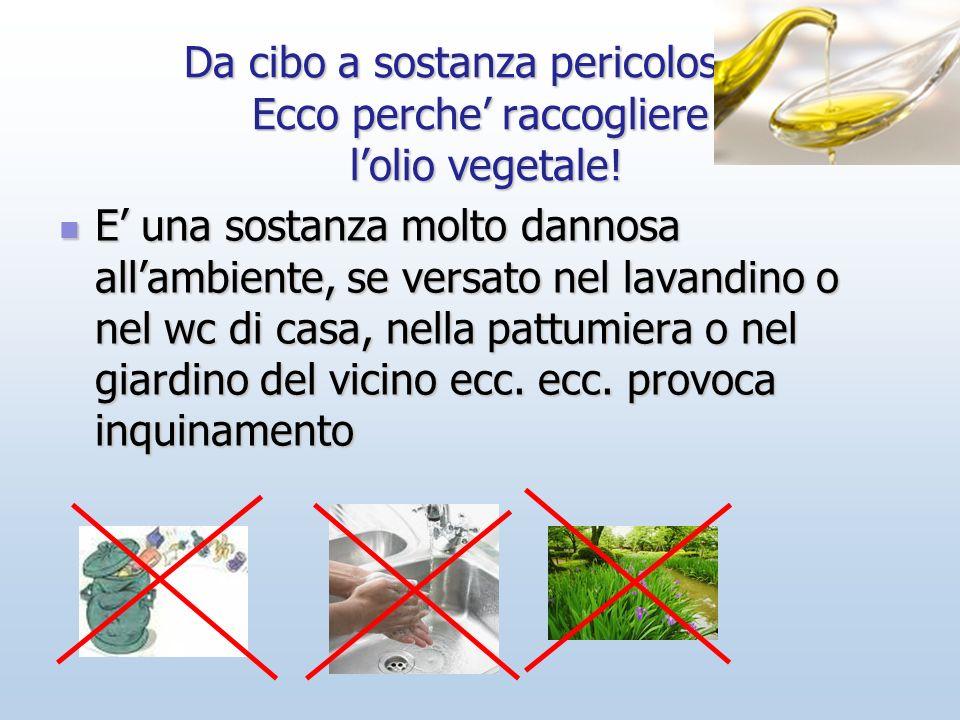 Da cibo a sostanza pericolosa… Ecco perche' raccogliere l'olio vegetale!