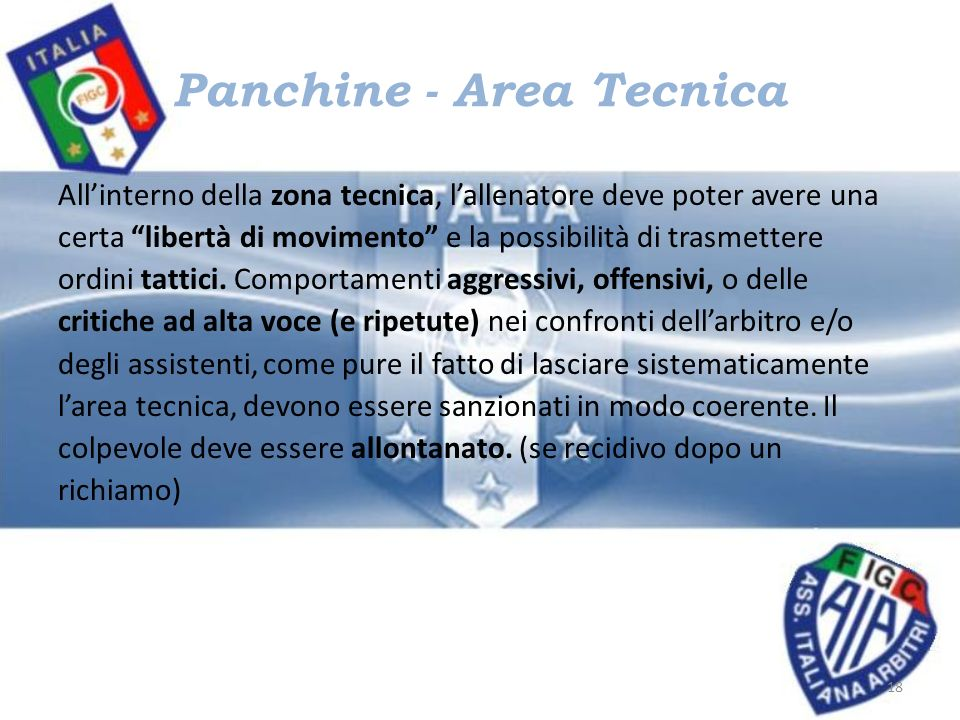 Panchine - Area Tecnica