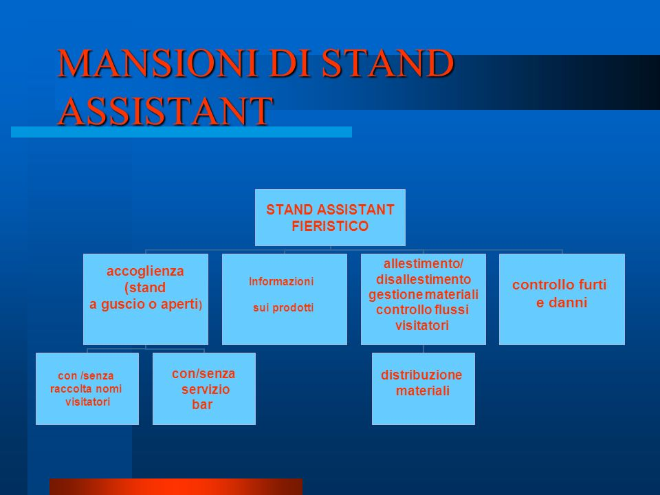 MANSIONI DI STAND ASSISTANT
