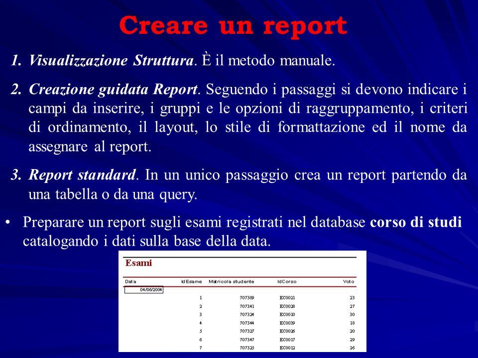 Creare un report Visualizzazione Struttura. È il metodo manuale.