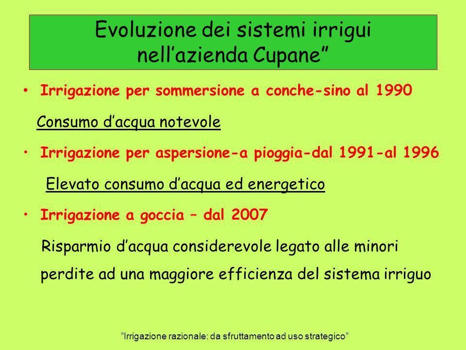 Evoluzione dei sistemi irrigui nell'azienda Cupane