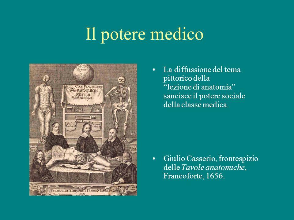 Il potere medico La diffussione del tema pittorico della lezione di anatomia sancisce il potere sociale della classe medica.