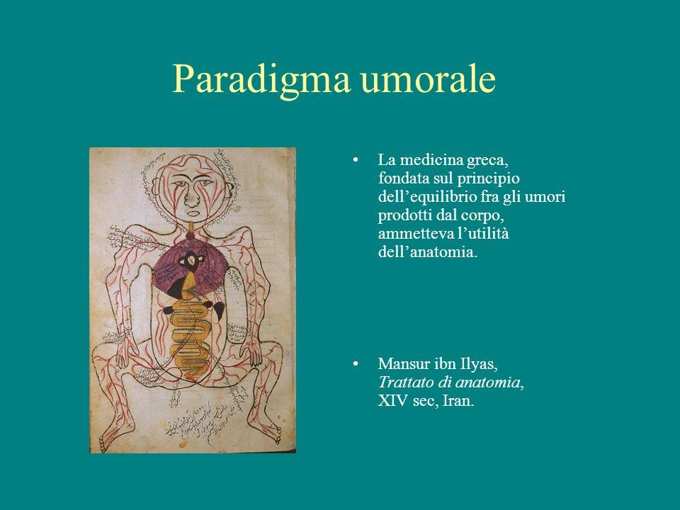 Paradigma umorale La medicina greca, fondata sul principio dell'equilibrio fra gli umori prodotti dal corpo, ammetteva l'utilità dell'anatomia.
