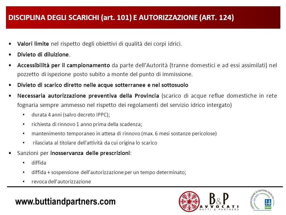 DISCIPLINA DEGLI SCARICHI (art. 101) E AUTORIZZAZIONE (ART. 124)