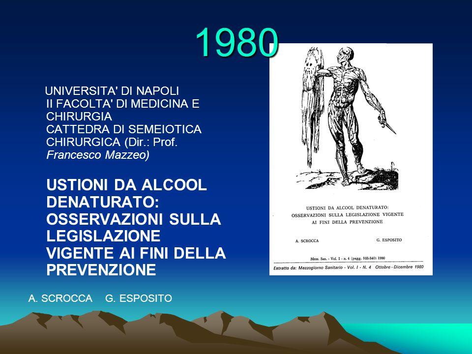 1980 UNIVERSITA DI NAPOLI II FACOLTA DI MEDICINA E CHIRURGIA CATTEDRA DI SEMEIOTICA CHIRURGICA (Dir.: Prof. Francesco Mazzeo)