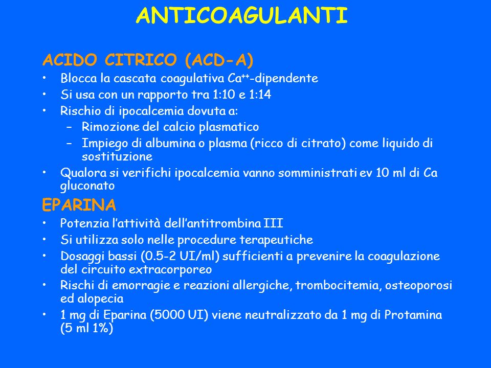 ANTICOAGULANTI ACIDO CITRICO (ACD-A) EPARINA