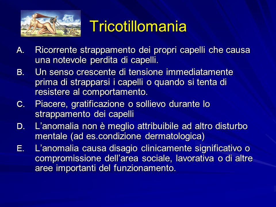 Tricotillomania Ricorrente strappamento dei propri capelli che causa una notevole perdita di capelli.