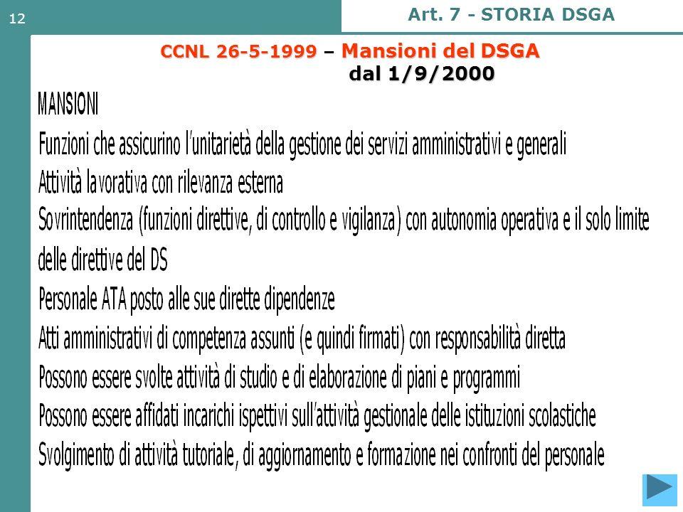CCNL 26-5-1999 – Mansioni del DSGA dal 1/9/2000