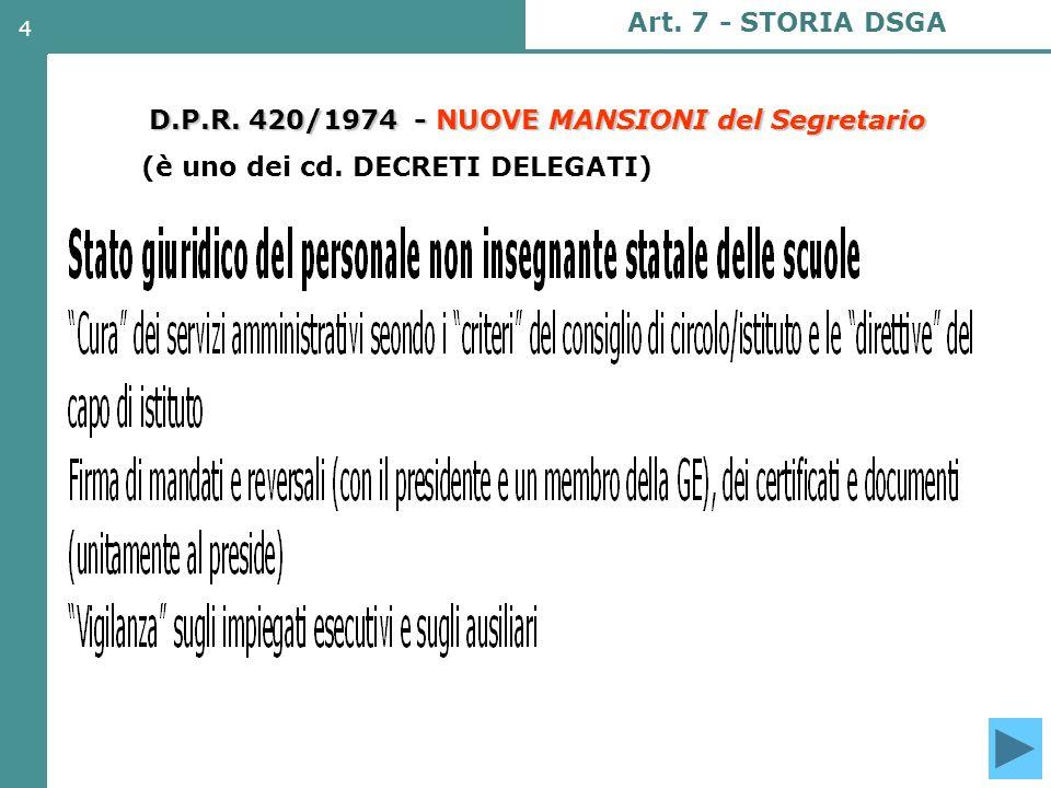 D.P.R. 420/1974 - NUOVE MANSIONI del Segretario