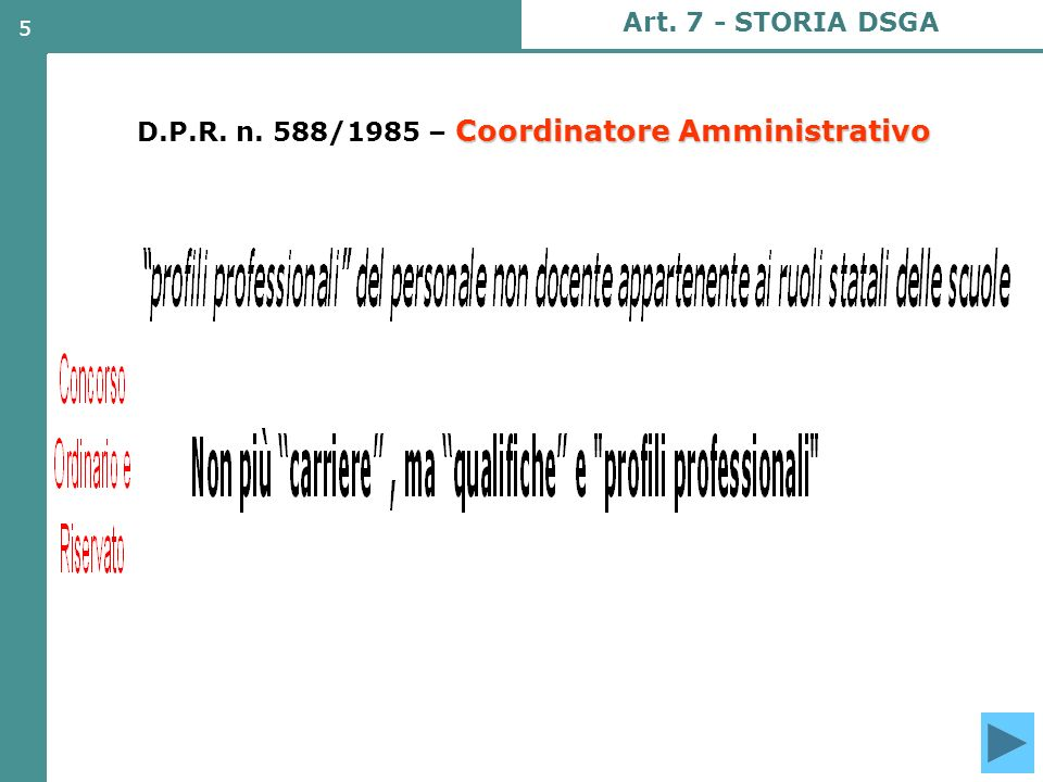 D.P.R. n. 588/1985 – Coordinatore Amministrativo