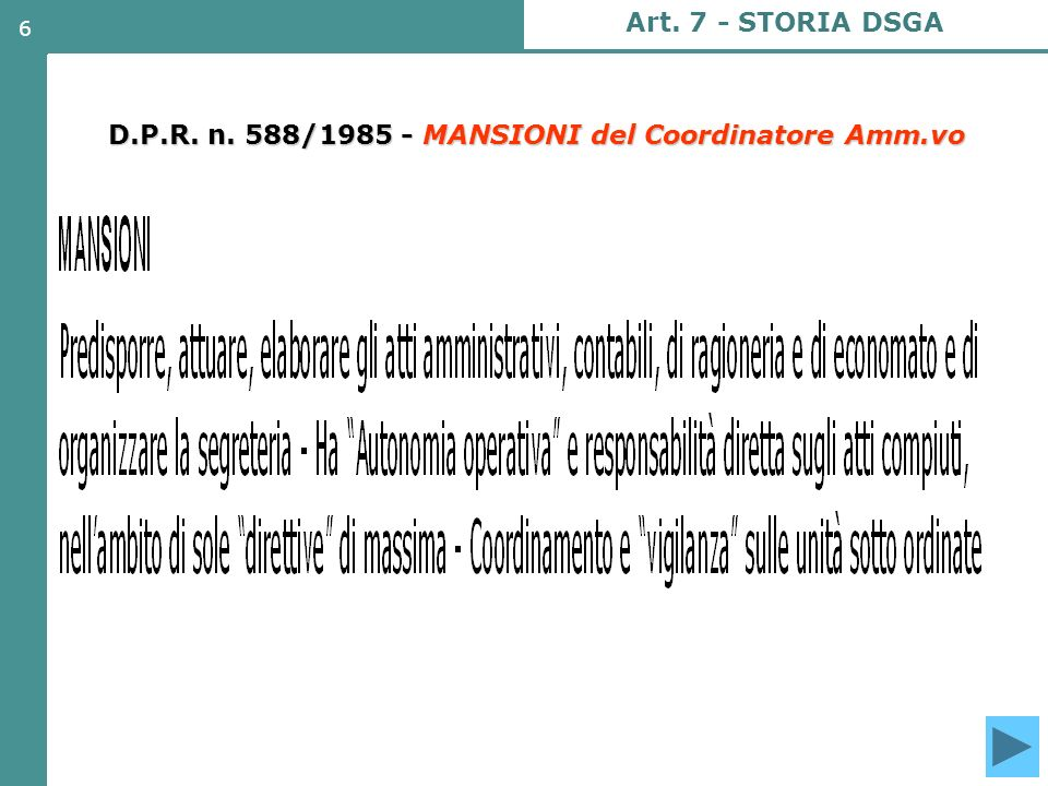 D.P.R. n. 588/1985 - MANSIONI del Coordinatore Amm.vo