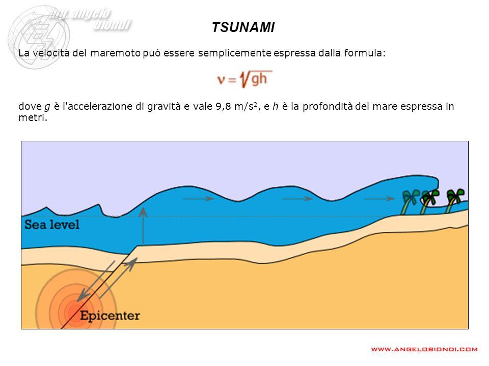 TSUNAMI La velocità del maremoto può essere semplicemente espressa dalla formula:
