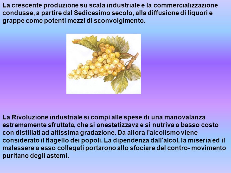 La crescente produzione su scala industriale e la commercializzazione condusse, a partire dal Sedicesimo secolo, alla diffusione di liquori e grappe come potenti mezzi di sconvolgimento.